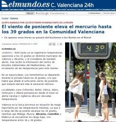 8月26日のポニエンテが吹き、気温が大幅に上昇した時の新聞記事。